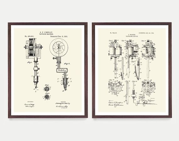 Tattoo Patent, Tattoo Gun Patent, Tattoo Art, Tattoo Wall Art, Tattoo Artist, Vintage Tattoo, Body Art, Ink Patent, Tattoo Shop, Tattoo Gift