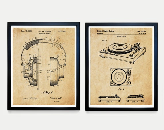 STEREO Record Patent Art - Turntable Patent - Record Player - Music Poster - Music Patent - Vinyl Art - Vinyl Patent - Record Player Patent