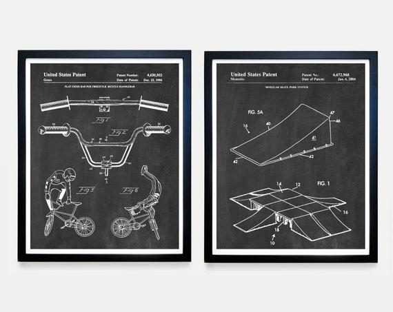 BMX Bike Patent - Skate Park - Skate Park Art - BMX Art -BMX Wall Art - bmx Poster - X Games - X Games Poster  Half Pipe - Skate Park Patent