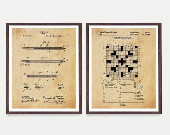 Crossword Puzzle Patent Art, New York Times Crossword Puzzle, Crossword Art, Crossword Puzzler, Puzzle Art, Crossword Puzzle Gift