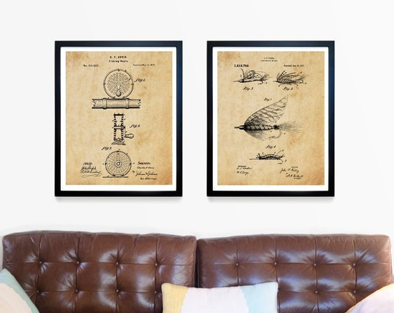 Fishing Wall Art - Fly Fishing Art - Fishing Patent Print - Fly Fishing Patent - Fishing Art - Fishing Inventions - Fishing Reel - Lure