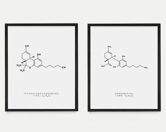 Cannabis Poster - THC Molecule - CBD Molecule - Molecule Poster - Molecule Art - Marijuana Art - Marijuana Poster - Cannabis Art - Weed