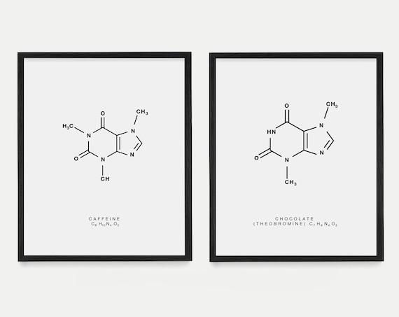 Caffeine & Chocolate Molecule Art - Caffeine Molecule - Chocolate Molecule - Molecule Poster - Molecule Art - Food Art - Food Poster