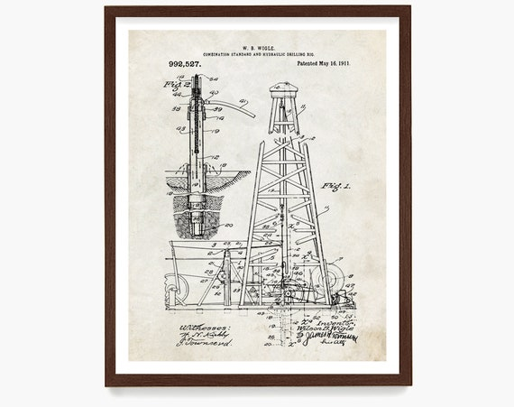 Oil Rig Drilling Patent Art Print Wall Decor,  Oil Derrick Art, Drilling Patent, Oil Art, Patent Print Poster, Industrial Oil Gas Company