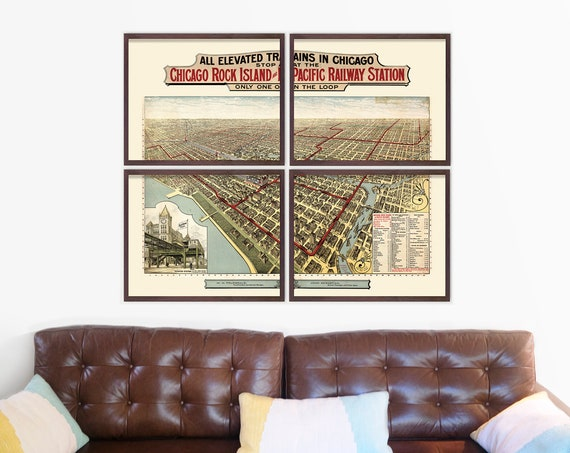 Chicago Map - Antique Map - Archival Reproduction - Chicago Art - Chicago Elevated Train Map - Chicago Train - Train Map - Subway Map - IL