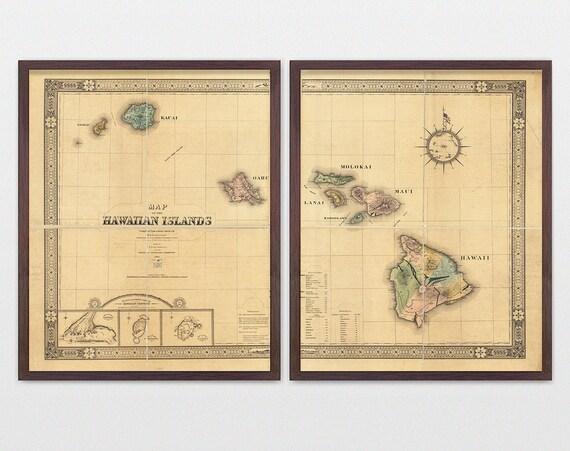 Hawaii Map, Antique Map, Hawaiian Islands, Hawaii Art, Hawaii Poster, Hawaii Wall Art, Island Map, Maui, Big Island, Beach Decor, Map Art