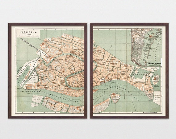 Venice Map, Antique Map, Venice Italy, Italy Map, Venice Art, Venice Poster, Map Art, Map Decor, Italy Wall Art, Italy Poster