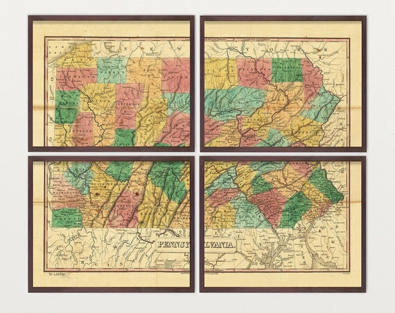 Pennsylvania Map - Antique Map - Archival Reproduction - Pennsylvania - Pennsylvania Art - Pennsylvania Poster - Pennsylvania Wall Art