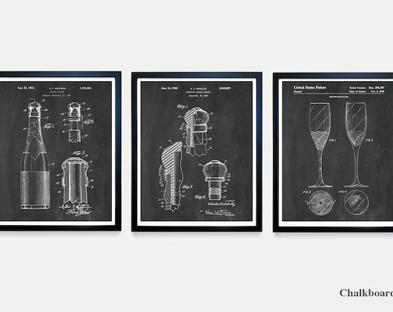 Champagne Patent Art - Champagne Bottle - Champagne Cork - Champagne Flute - Champagne Poster - Champagne Decor - Champagne Wall Art