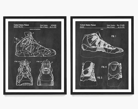 Nike Air Jordan Patent Art, Sneaker Art, Sneaker Poster, Nike Poster, Nike Patent, Air Jordan Art, Retro Sneaker, Nike Shoes, Nike Gift