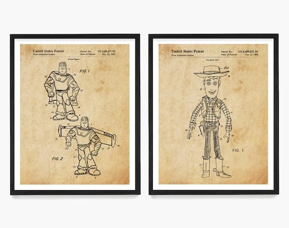 Toy Story Patent Art, Toy Story Art, Toy Story Poster, Buzz Lightyear, Woody, Toy Patent, Toy Art, Kids Room Art, Nursery Wall Art