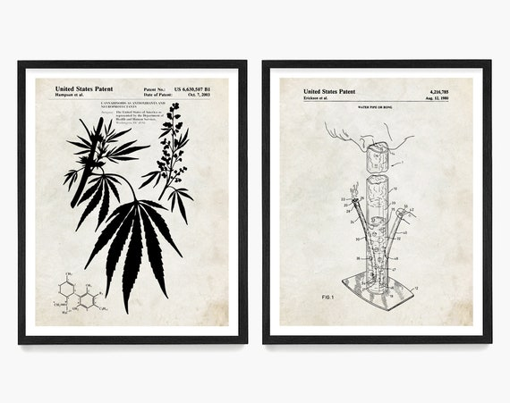 Cannabis Wall Art, Marijuana Art, Cannabis Patent Art, Marijuana Patent, THC Poster, THC Wall Art, Cannabis Gift