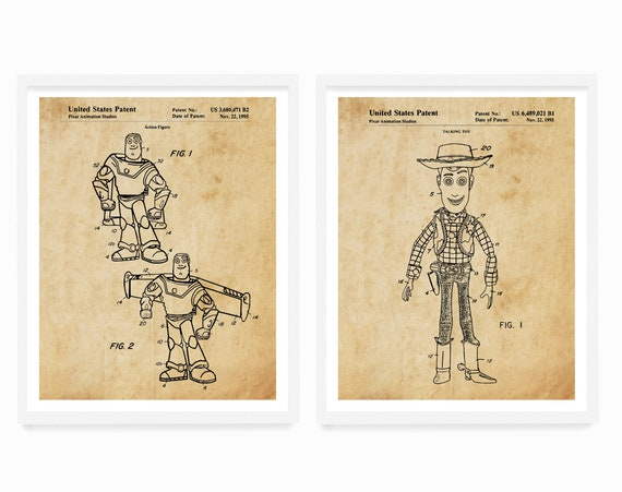 Toy Story Patent Diptych 11x14 White Framed and Matted to 8x10