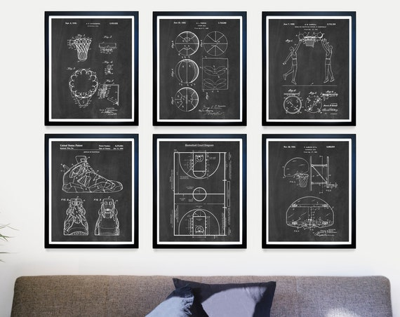 Basketball Patent Art - Basketball Art - Basketball Wall Art - Basketball Poster - Basketball Gift - Basketball Court Diagram - Coach Gift