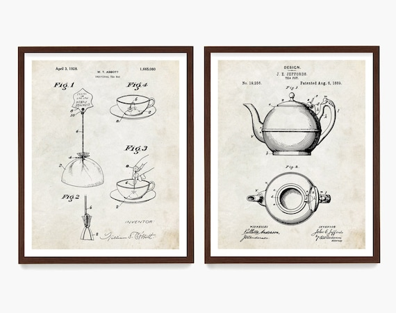 Tea Patent Art, Kitchen Wall Art, Airbnb Decor, Tea Kettle Patent, Tea Bag Patent, Housewarming Art Gift