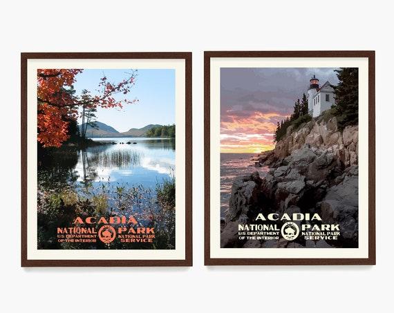 Acadia National Park Poster, Acadia Wall Art, National Park Poster Decor, WPA Poster, Maine Home, Maine Wall Art, Housewarming Gift