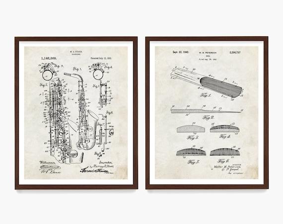 Saxophone Patent Art, Saxophone Wall Art, Saxophone Poster, Music Wall Art, Music Decor, Saxophone Gift, Music Gift
