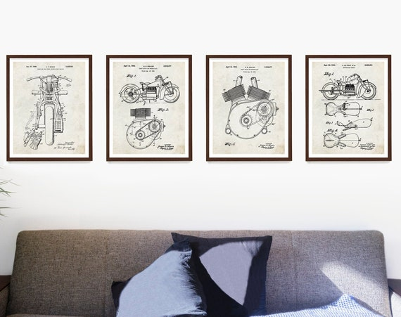 Indian Motorcycle Patent Poster, Indian Motorcycle Art, Indian Motorcycle Gift, Motorcycle Patent, Motorcycle Art Gift