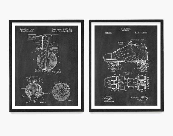 Roller Disco Patent Poster, Roller Skate Patent, Disco Wall Art, Roller Skate Decor, Retro Poster, Disco Ball Patent Art, Roller Rink