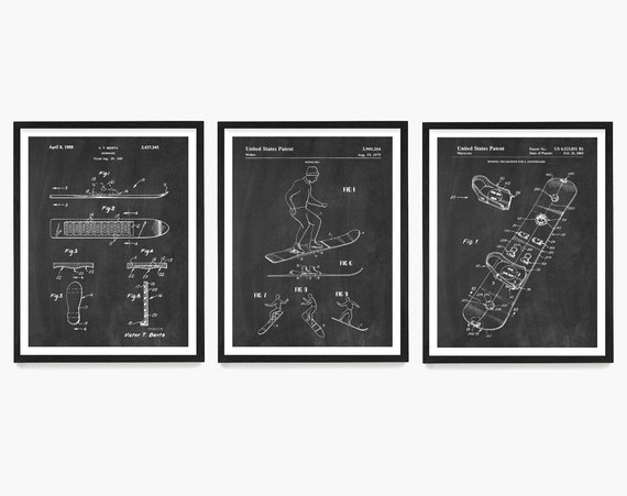 Snowboard Patent Art, Snowboard Art, Snowboard Poster, Snowboarding Art, Snowboarding Patent, Snowboard Decor, X Games, Snowboarding Gift