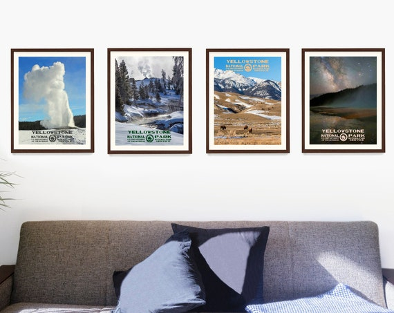 Yellowstone National Park Poster, National Park Wall Art, National Park Gift, WPA Poster, Yellowstone Home Decor, Adventure Art