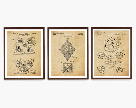 Dice Patent Art, Board Game Patent, Dice Patent, Dungeon Master, Vintage Board Game Dice Art, RPG Game Art, Dungeon Dice