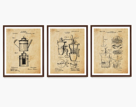 Coffee Poster, Kitchen Decor, Coffee Print, French Press Patent, Kitchen Wall Art, Caffeine Art, Housewarming Gift, Kitchen Remodel
