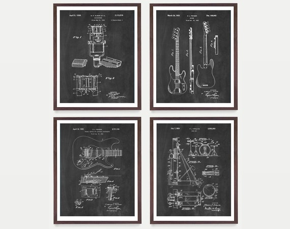Inventions of Rock & Roll - Fender Poster -Fender Wall Art - Guitar Poster - Guitar Wall Art - Drums Art - Drummer Art - Rock Band - Band
