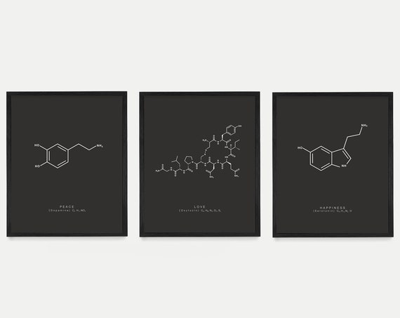 Peace Love and Happiness Molecules Art, Serotonin, Oxytocin, Dopamine, Molecule Poster, Molecule Wall Art, Chemistry Poster, Love Art