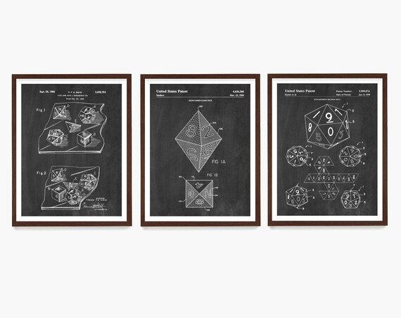 Dungeons and Dragons Dice Patent Art, DnD Wall Art, Dungeons and Dragons Poster, Dungeon Master, Dnd Art, Dnd Poster, Dice Patent
