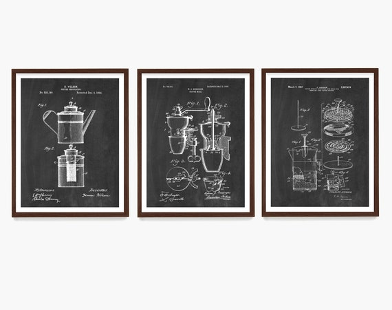 Coffee Poster Art, Coffee Patent, Percolator Patent, French Press Poster, Kitchen Wall Art, Housewarming Gift, Kitchen Remodel, Coffee Gift
