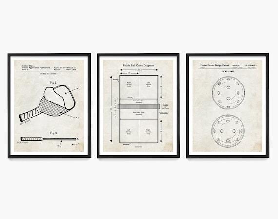 Pickleball Patent Wall Art, Pickleball Paddle, Pickleball Court Diagram, Pickleball Gift