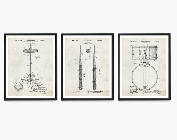 Drum Patent Art, Drummer Gift, Drum Wall Art, Music Poster, Music Patent Print, Snare Drum Patent, Drum Stick Patent, Percussion
