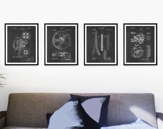 Cinema Patent Wall Art, Movie Patent Poster, Movie Decor, Film Camera, Movie Projector, Film Reel, Home Theater, Film Student Gift