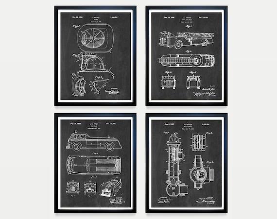 Inventions of Fire Fighting - Fireman Poster - Fire Truck Art - Fire Truck Patent - Fire Helmet - Fire - Fireman Patent - Fire House Art