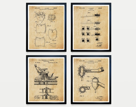 DENTIST PATENT - Dentist Patent Collection - Dentist Chair Patent - Dentist Drill Patent - Dentist Office - Teeth - Tooth - Dentist Art