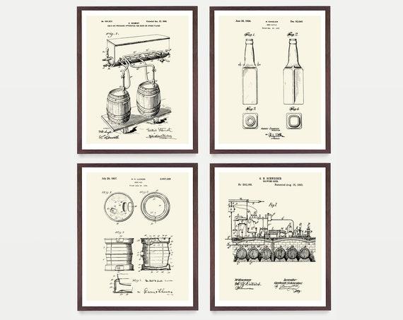 Beer - Beer Patent - Beer Brewing - Beer Poster - Beer Art - Beer Wall Art - Beer Patent Print - Beer Brewing Poster - Kitchen Art - Gift