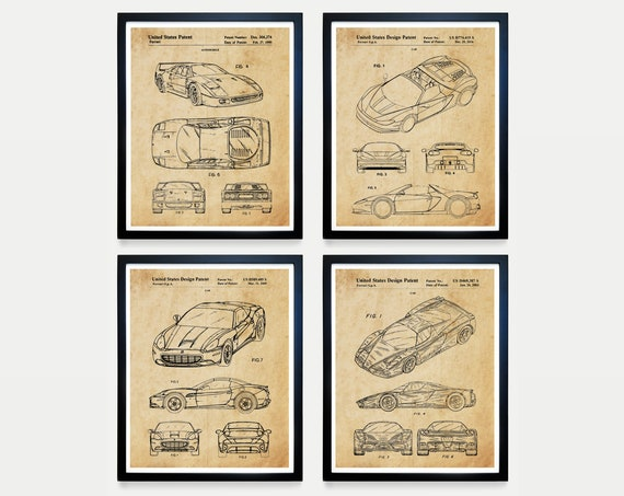 Ferrari Patent Art - Ferrari Poster - Ferrari Wall Art - Ferrari Decor - Ferrari Patent Poster - Sports Car - Boys Room Art - Car Poster