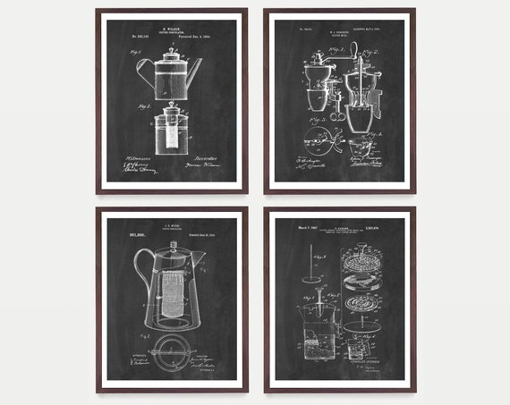 Coffee Patent Poster - Coffee Art - Coffee Poster - Kitchen Decor - Kitchen Poster - French Press Patent - French Press - Kitchen Wall Art