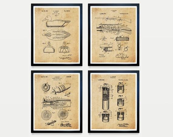 Duck Hunting Patent Art, Shotgun Art , Shotgun Poster, Duck Call, Duck Decoy, Hunting Poster, Hunting Theme, Hunting Gift, Cabin Wall Art