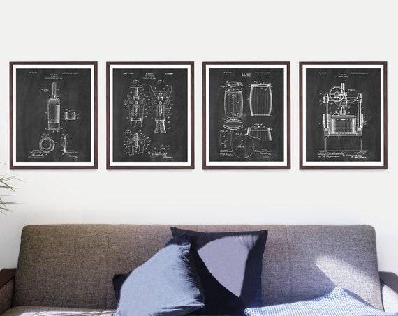 Inventions of Wine Patent Art - Wine Patent - Wine Art - Wine Wall Art - Wine Decor - Wine Bar - Wine Gift - Cork Screw - Wine Poster - Vino