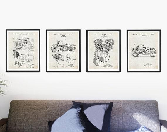 Harley Davidson Patent Poster, Harley Poster, Harley Davidson Motorcycle, Harley Engine, Harley Art, Harley Patent, Motorcycle Art Gift