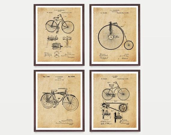 Bicycle Patent Art - Bicycle Poster - Vintage Bicycle - Velocipede - Bike Patent - Bike Art - Bike Poster - Bicycles - Bicycle Patent Art