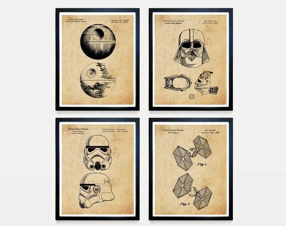 Star Wars Patent Art, The Dark Side, Darth Vader, Death Star, Storm Trooper, Star Wars Poster, Star Wars Art, Star Wars Gift, Mandalorian