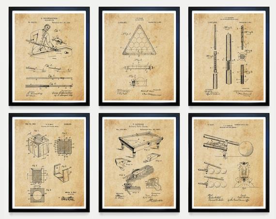 Billiards Patent Art - Billiards Poster - Billiards Art - Billiards Room - Pool Cue - Pool Table - Billiards Table Patent Pool Hall Wall Art