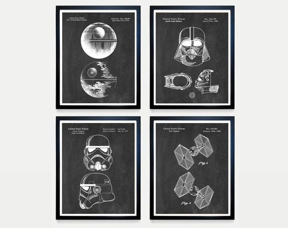 Star Wars Patent Art, The Dark Side, Darth Vader, Death Star, Storm Trooper, Tie Fighter, Star Wars Poster, Star Wars Art, Star Wars Gift
