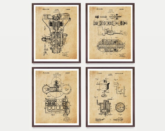 Ford Patent - Henry Ford Patent - Ford Motors - Ford Transmission Patent - Mechanic - Ford Motors Art - Car Patent Motor Patent - Engine