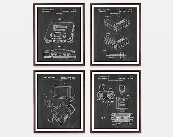 Nintendo Console Patent Art - NES - SNES - N64 - Game Cube - Nintendo Poster - Gamer - Video Game Art - Video Game Gift - Nintendo Gift