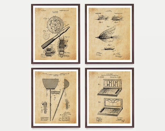 Fishing Patent Art, Fly Fishing Art, Fishing Wall Art, Fly Fishing Poster, Fishing Reel Patent, Fishing Lure Patent, Fishing Flies