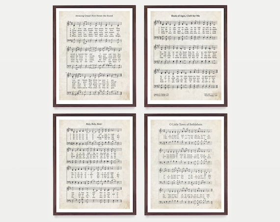 Hymnal Art Print Set, Hymn Poster, Music Decor, Music Print, Hymnal Poster, Hymnal Decor Music, Minister Gift, Music Gift - Christian decor